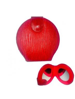 Miroir de sac et de poche imitation cuire rouge